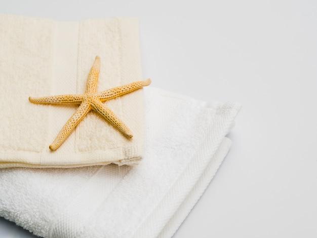 Sideways seastar on top of towel