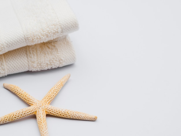 Sideways seastar and towels with copy space