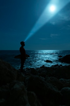 Sideways silhouette of a man looking at the sky
