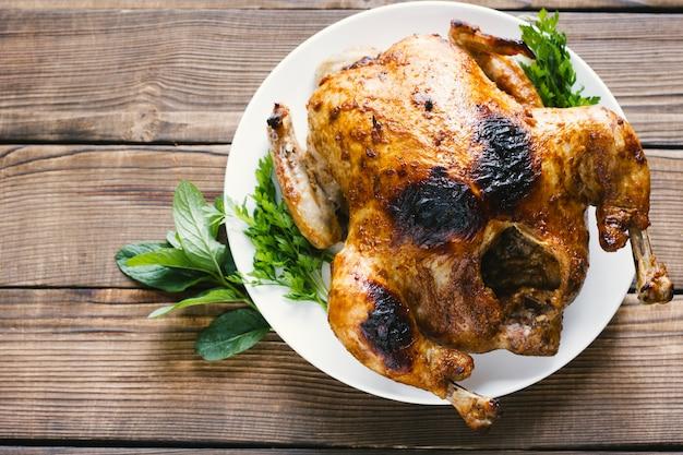 Sideways top view roasted chicken