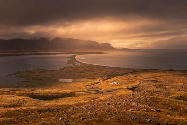 Siglufjarðarvegur coast at north iceland.