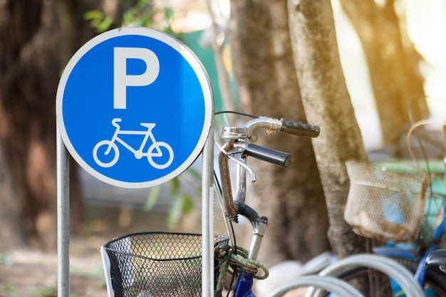 Sign for bicycle parking.