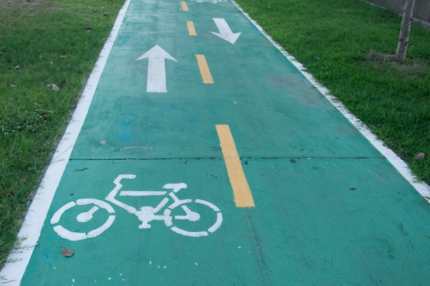 Sign for bicycle way in the park