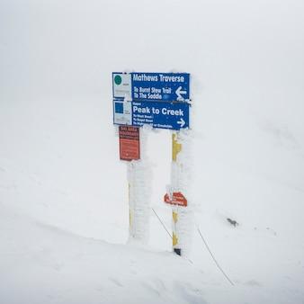 Знак в снежной долине, уистлер, британская колумбия, канада