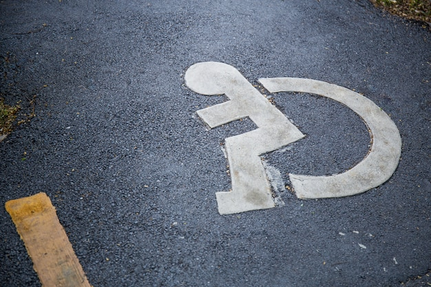 Sign for the disabled on the street
