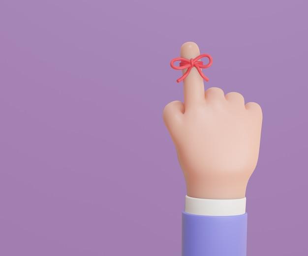 手話は指の赤い弓を忘れないでください。リマインダーリボン3dイラストレンダリングと指。
