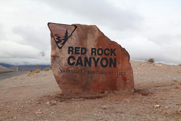 Sign entrance red rock canyon ,nevada usa