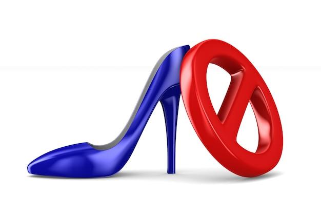 Запретить знак и женская обувь на белом.
