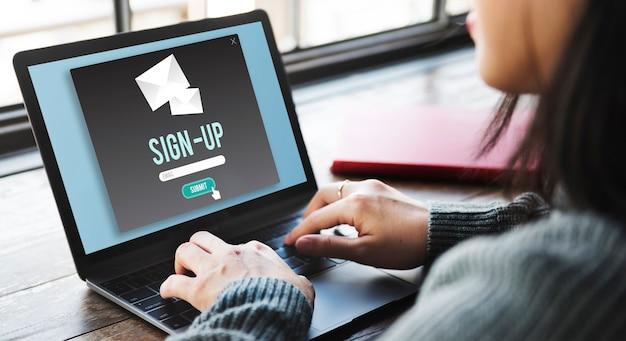 サインインサインアップアプリケーション適用登録登録コンセプトを入力
