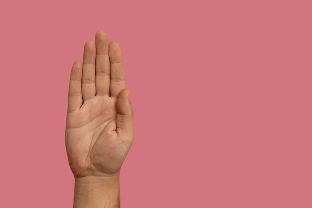 Gesto della mano in lingua dei segni con spazio di copia