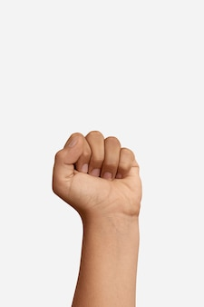 Sign language hand gesture with copy space