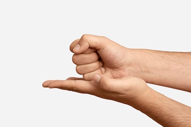 Simbolo della lingua dei segni isolato su bianco