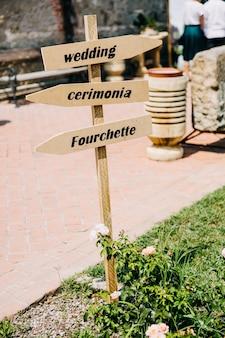 結婚式につながるサイン、屋外、レストランで