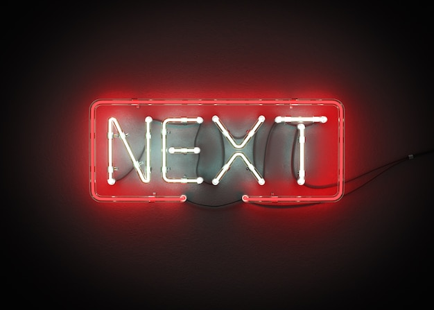 Next sign made from neon alphabet on a black background 3d rendering