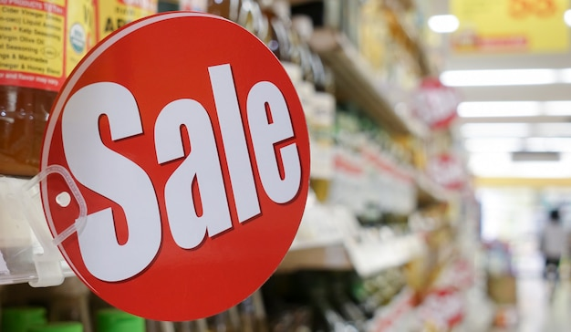 Sign of sale, sale banner grocery shopping promotional sale advertisement.