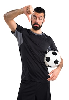 Знак футбол портрет пальца вниз мяч