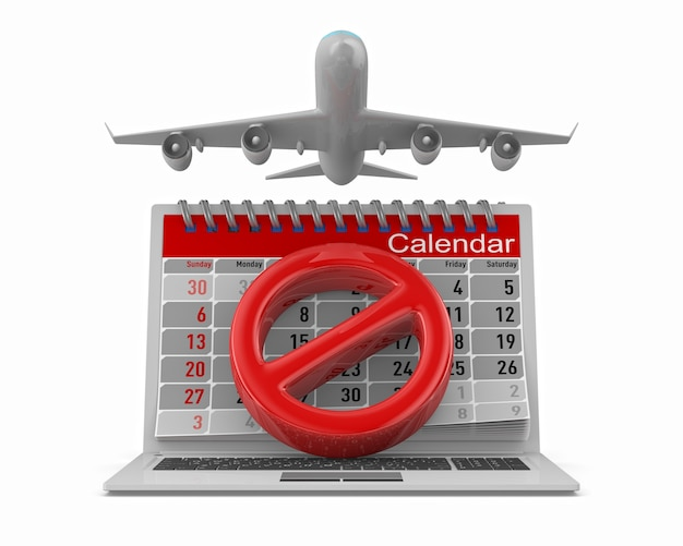Sign stop, airplane and calendar on white