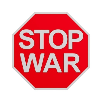 Sign stop war on white background. isolated 3d illustration
