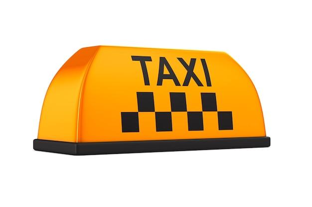흰색 바탕에 택시를 서명합니다. 고립 된 이미지