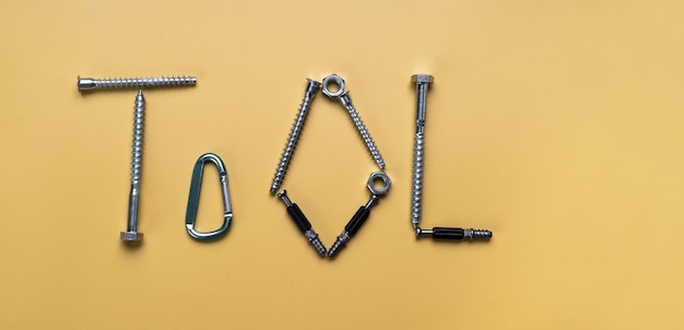 Sign tool, frame with copy space made of bolts