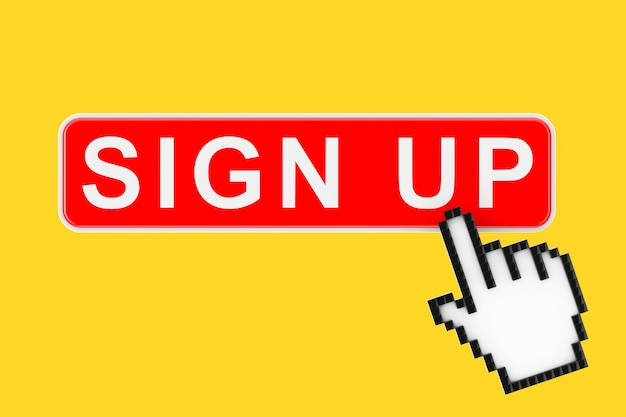 Sign up button with pixel icon hand on a yellow background. 3d rendering