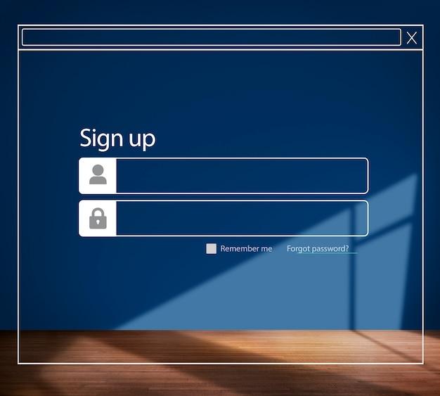 サインアップパスワード部屋の構造壁の背景の概念
