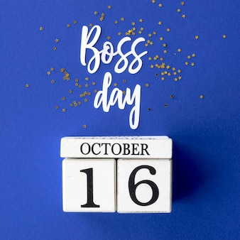 Sign with boss day lettering concept