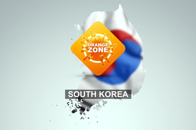 A sign with the inscription orange zone on the background of a map of south korea with its flag. orange danger level, coronavirus, lockdown, quarantine, virus. 3d render, 3d illustration.