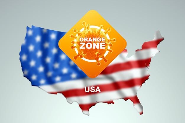 Знак с надписью orange zone на фоне карты америки с американским флагом. оранжевый уровень опасности, коронавирус, изоляция, карантин, вирус. 3d визуализация, 3d иллюстрации.
