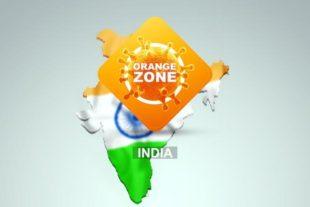 Знак с надписью «оранжевая зона» на фоне карты индии с индийским флагом. оранжевый уровень опасности, коронавирус, изоляция, карантин, вирус. 3d визуализация, 3d иллюстрации.