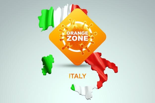 Знак с надписью оранжевая зона на фоне карты италии с итальянским флагом. оранжевый уровень опасности, коронавирус, изоляция, карантин, вирус. 3d визуализация, 3d иллюстрации.