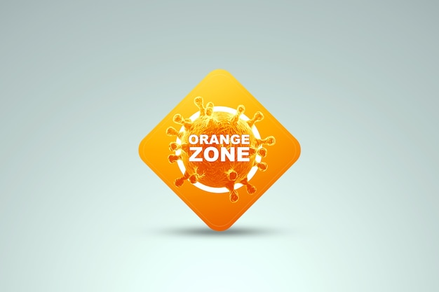 Знак с надписью оранжевая зона. уровень опасности апельсина минимальный. концепция коронавируса, изоляция, карантин, вирус. 3d визуализация, 3d иллюстрации. Premium Фотографии