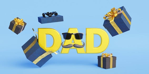 Sign with the word dad and gifts floating around