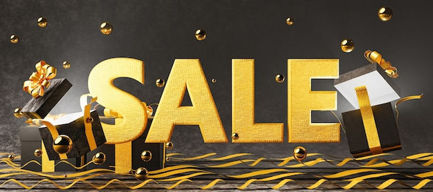 Sign with the word sale on golden fabric and open gift boxes with light coming out of them and velvet background