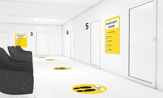 Вывеска санитарных мер безопасности в кабинете врача