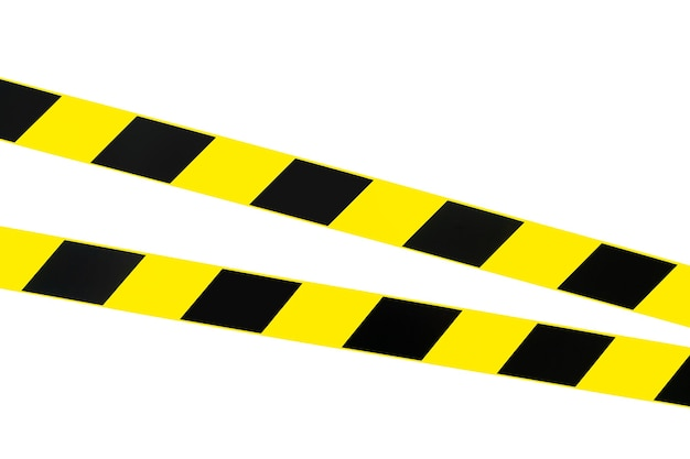 Signal or warning black and yellow tape. isolated on white. hazard warning.