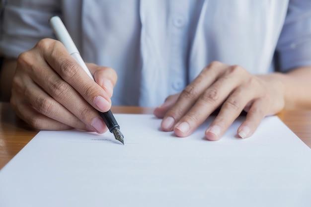 Signature female contract sign home male