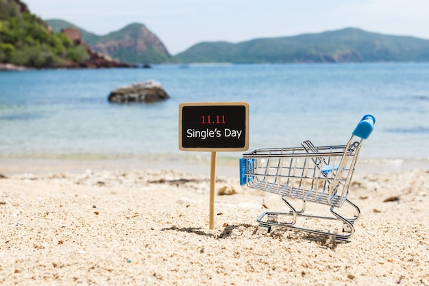Signboard and shopping cart in the beach. online shopping of china. single's day sale concept.
