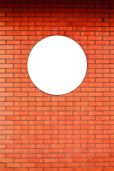 Signboard store layout logo design circle template on red brick wall.