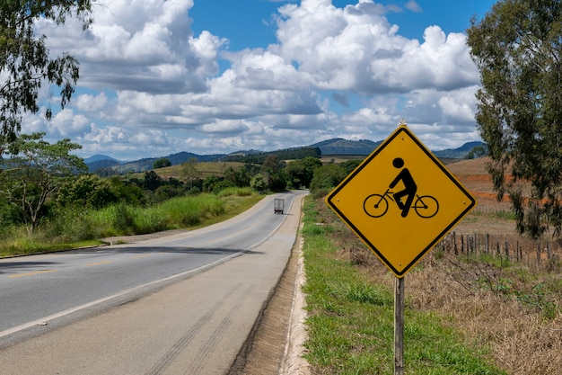Signpost for bicycle on the highway