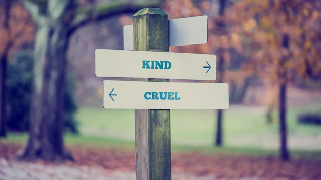 Signpost in a park or forested area with arrows pointing two opposite directions towards kind and cruel with a vintage style filter effect