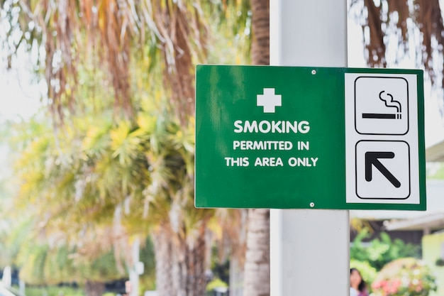 Signpost to the smoking area in public places