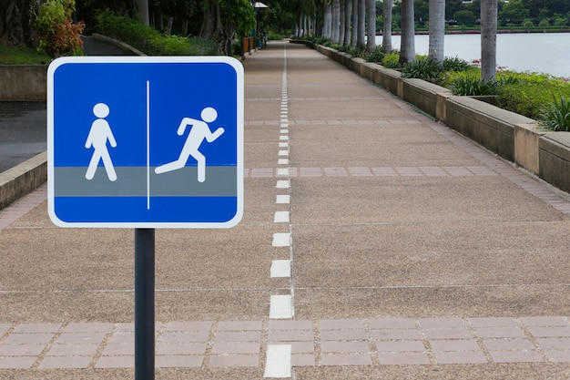 Signposts for walking and running in the public park.