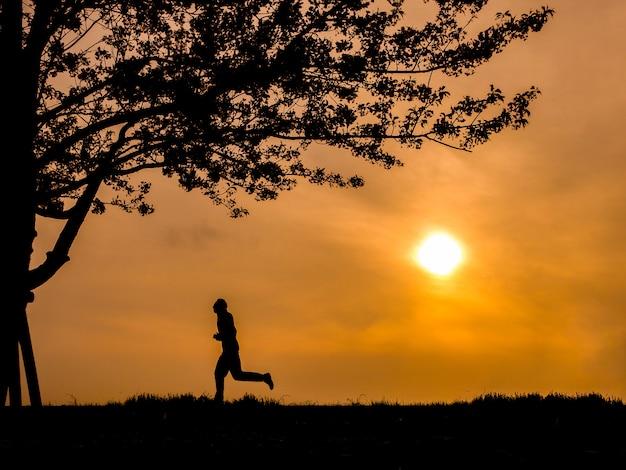 Sihouette of asian running man and sakura tree with evening sundown.