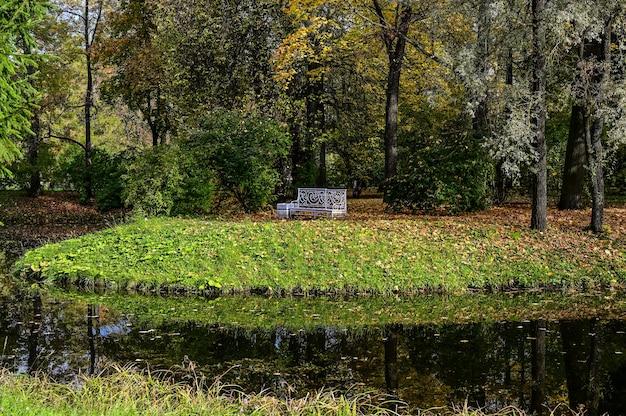 고요. 프라이버시를 위한 벤치. 묵상. 가 숲과 호수에 반사입니다. 극적인 특이한 장면. 빨간색과 노란색 단풍입니다. 뷰티월드.