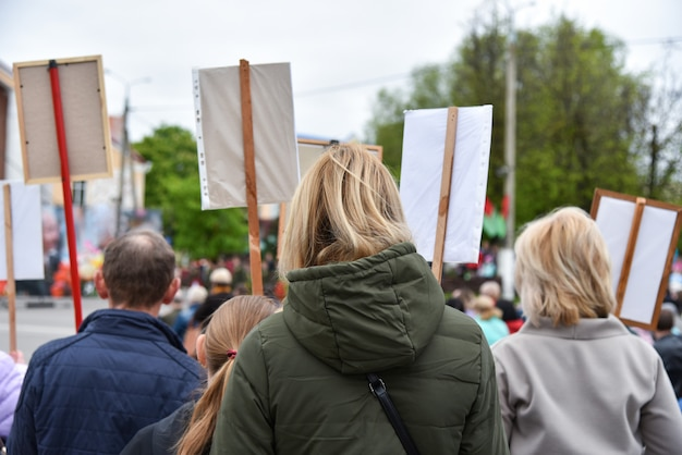 Silent protest action in belarus, demonstration with posters