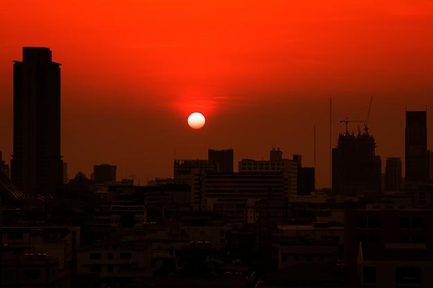 Silhouette bangkok city building tower