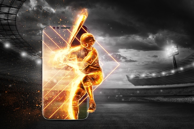Silhouette of a baseball player on fire