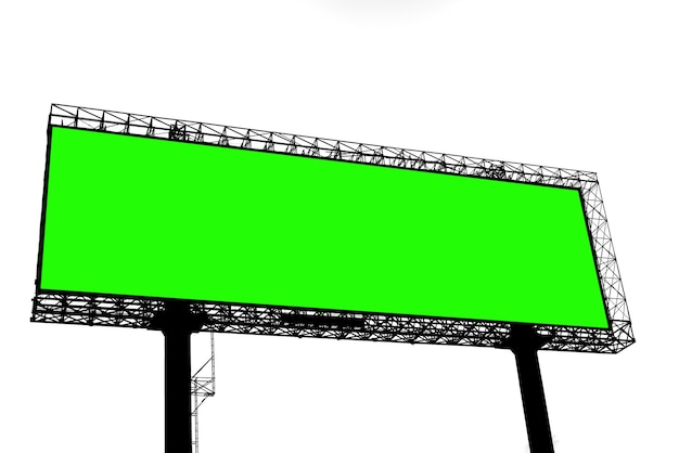 Silhouette blank green screen billboard isolate on white