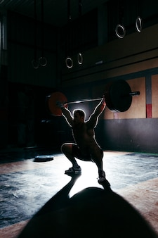 Silhouette of bodybuilder